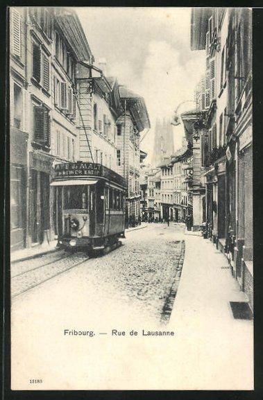 AK Fribourg, Rue de Lausanne, Strassenbahn