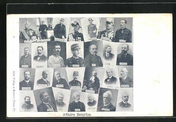 AK Affaire Dreyfus, Portraits der Teilhabenden