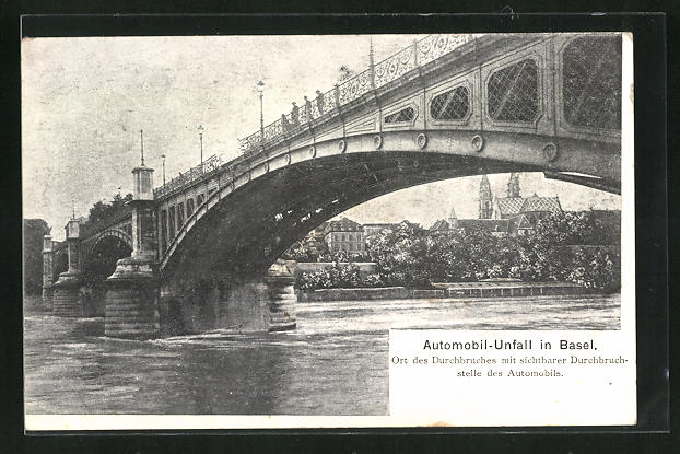 AK Basel, Automobil-Unfall, Sturz von Brücke