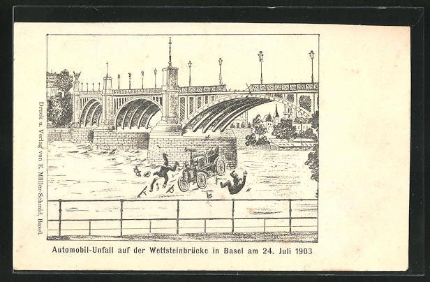 AK Basel, Automobilunfall auf der Wettsteinbrücke 1903