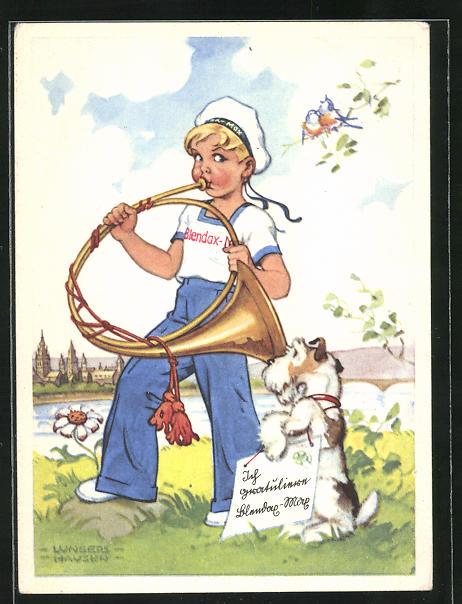 Künstler-AK Ilse Wende-Lungershausen: Blendax-Max mit Horn und Hund