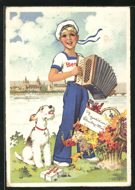 Künstler-AK Ilse Wende-Lungershausen: Blendax-Max mit Ziehharmonika und Hund