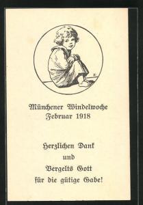 AK München, Windelwoche Februar 1918