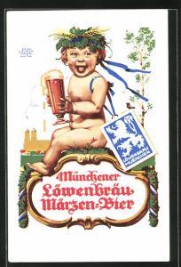Künstler-AK Siegmund von Suchodolski: Münchener Löwenbräu Märzen-Bier