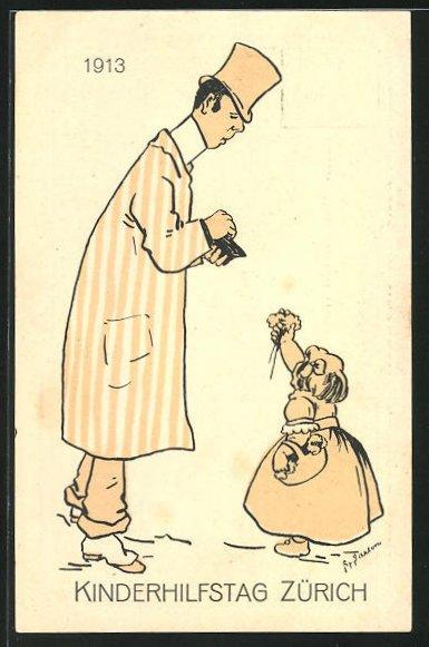 Künstler-AK Zürich, Kinderhilfstag 1913