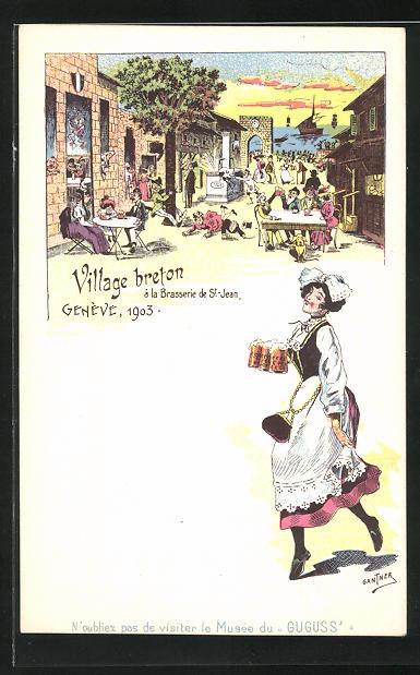 Künstler-Lithographie Gantner: Genève / Genf, Village breton à la Brasserie de St-Jean, Schankmaid, Brauerei