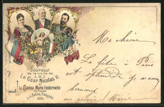 Lithographie Portrait Zar Nikolaus II. von Russland mit Gemahlin auf Staatsbesuch in Frankreich 1896, Flaggen