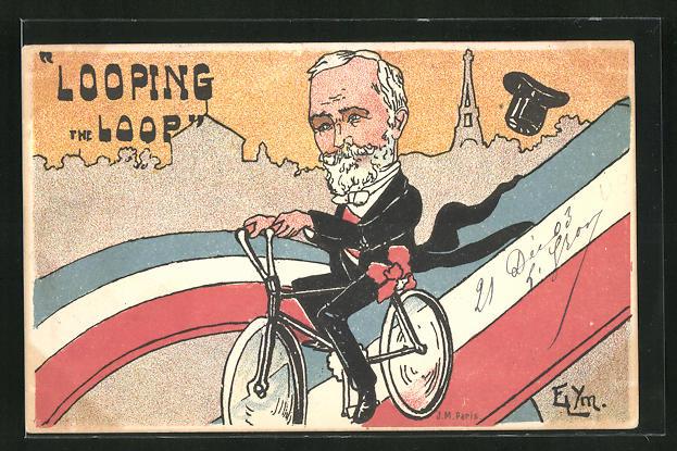 AK Französischer Präsident Loubet fährt mit dem Fahrrad auf einer Strasse in den französichen Nationalfarben, Karikatur