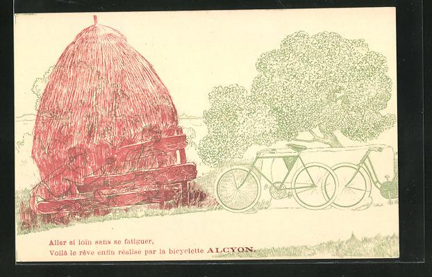 Anaglyphen-AK Paar beim Picknick auf der Wiese unter rot. Transp. papier!, Reklame für Alcyon Bicyclettes