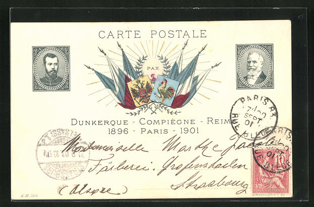 AK Zar Nikolaus II. von Russland und frz. Präsident Loubet, Bildnisse auf Briefmarken, Flaggen