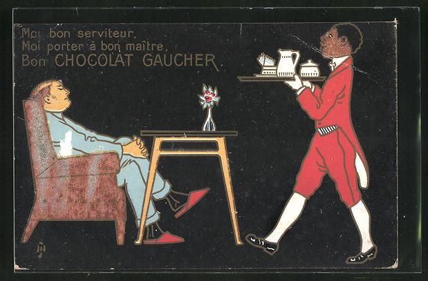 AK Diener bringt dem Hausherrn eine Kanne Heisse Schokolade, Chocolat Gaucher