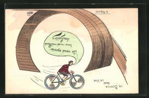 Künstler-AK Philippe Norwins: Mann mit Fahrrad auf Looping-Strecke