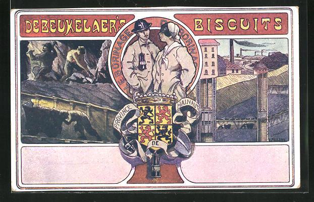 AK Männer bei der Arbeit im Stollen, Werksanlagen, Reklame für Debeukelaer`s Biscuits, Wappen