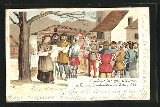 Lithographie Trans, Gründung des grauen Bundes 1424