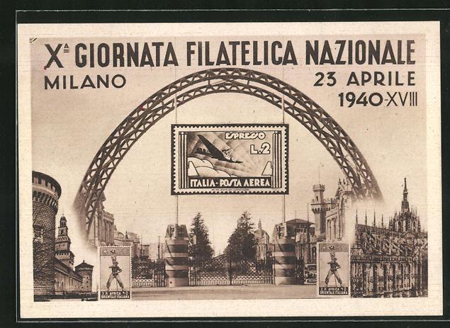 AK Milano, X. Giornata Filatelica Nazionale 1940, Ausstellung, Eingangsbereich mit Briefmarke