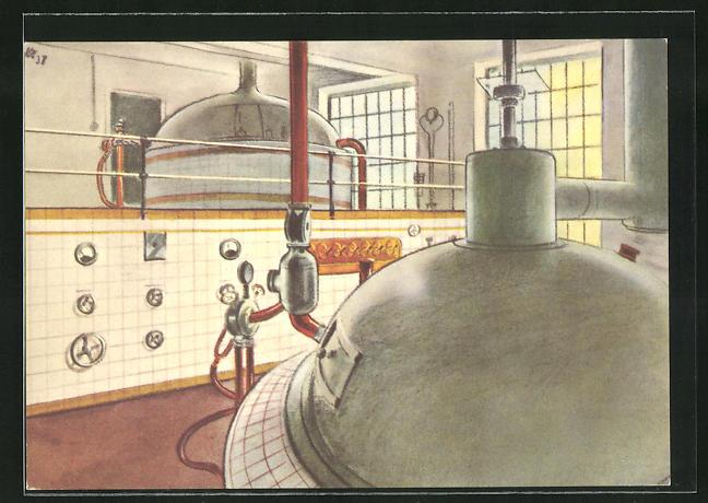 AK Worb, Bier-Brauerei A. Egger, Blick auf die Kessel