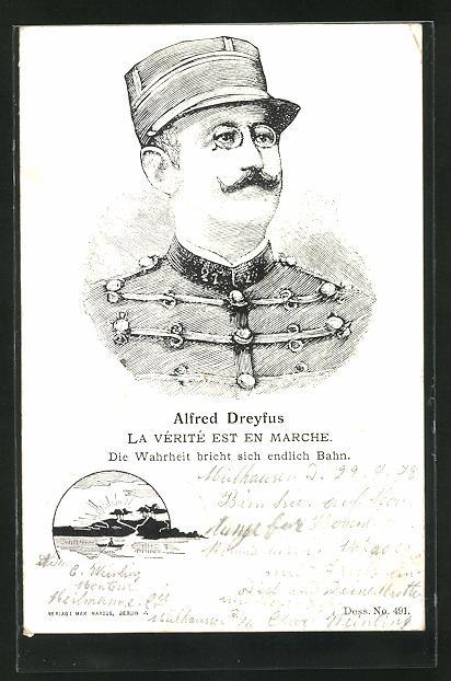 AK Affäre Dreyfus, Portrait von Alfred Dreyfus, La Vérité est en Marche