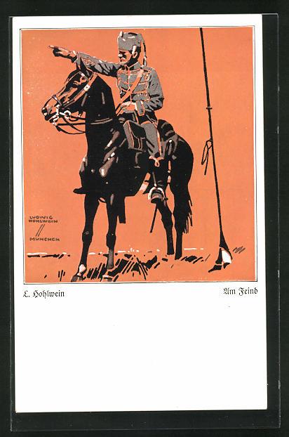 Künstler-AK Ludwig Hohlwein: Kavallerist deutet seinem Pferd den Weg zum Feind