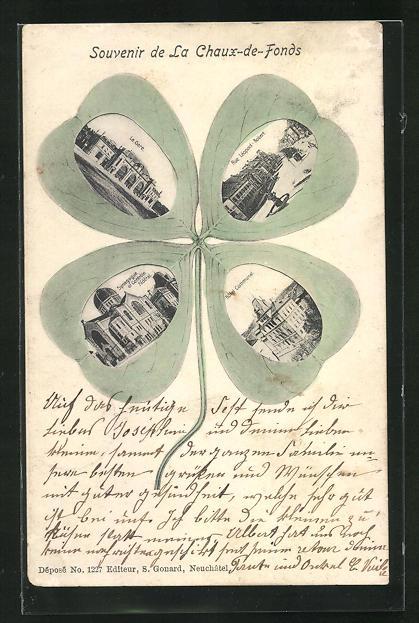 AK La Chaux-de-Fonds, La Gare, Synagoge / Synagogue et Controle Fédéral, Ansichten auf Kleeblatt