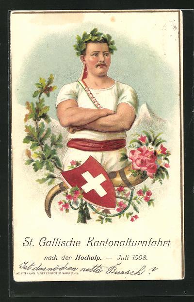 Präge-AK St. Gallen, Kantonalturnfahrt nach der Hochalp 1908, Turner mit Siegerkranz