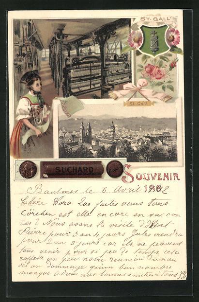 Lithographie St. Gallen, In einer Weberei, Reklame für Kakao Suchard