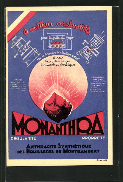 AK Reklame für synthetische Kohle Monanthra, Houillères de Montrambert