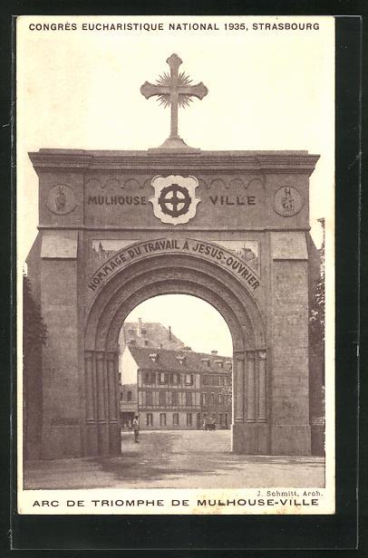 AK Strasbourg, Congrès Eucharistique National 1935, Arc de Triomphe de Mulhouse-Ville