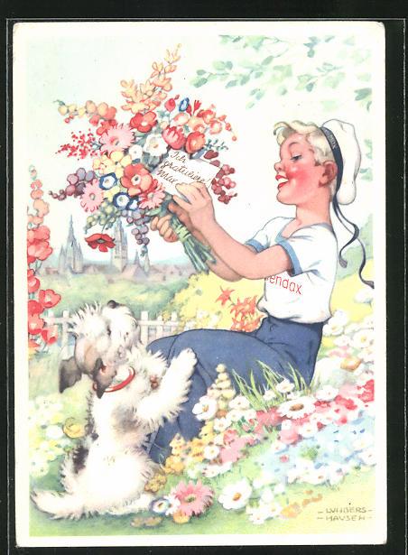 Künstler-AK Ilse Wende-Lungershausen: Reklame für Blendax Zahnpasta, Blendax-Max mit Hund