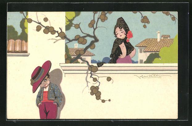 Künstler-AK Castelli: Junge Spanierin erblickt den Kavalier an der Mauer