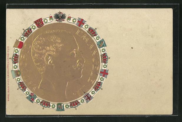 Präge-AK Medaille mit Portrait des Königs Vittorio Emanuele III. von Italien