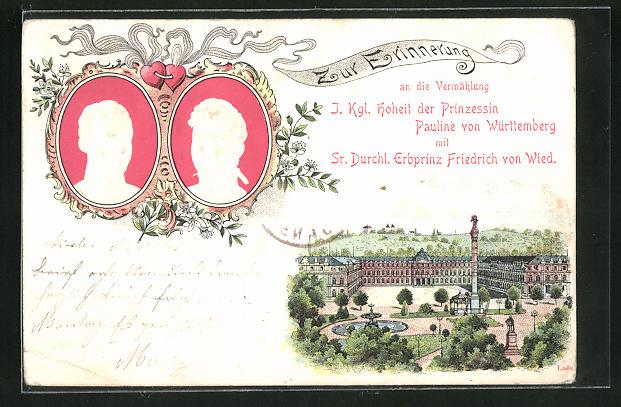 AK Prinzessin Pauline von Württemberg u. Erbprinz Friedrich von Wied, Portraits, Erinnerung an die Vermählung