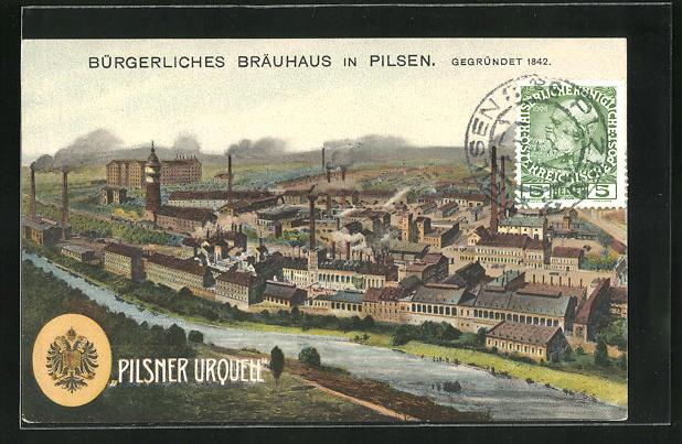 AK Pilsen, Ortsansicht mit Brauerei und Werksanlagen