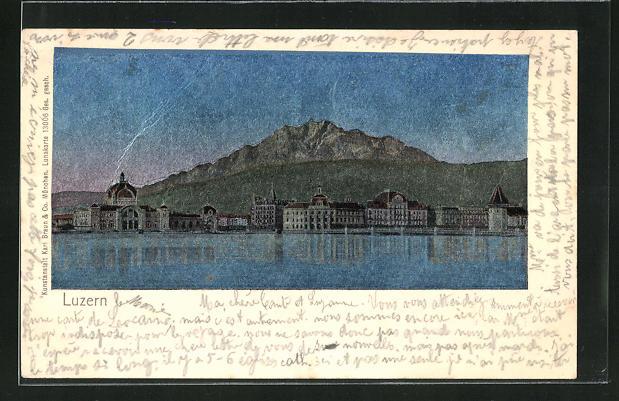 Luna-AK Luzern, Ortsansicht vom Wasser aus gesehen