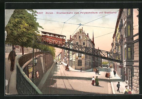 AK Zürich, Drahtseilbahn zum Polytechnikum und Stadtkeller, Bergbahn