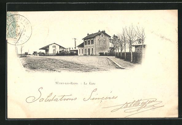 AK Witry-les-Reims, La Gare, Bahnhof