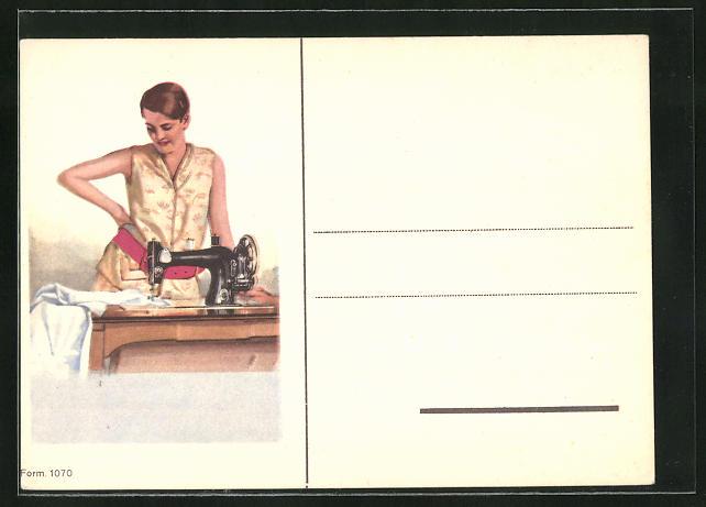 AK Frau an der Nähmaschine, Art Deco