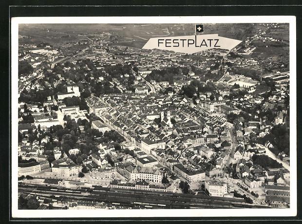AK Winterthur, Turnfest 1936, Festplatz aus der Vogelschau