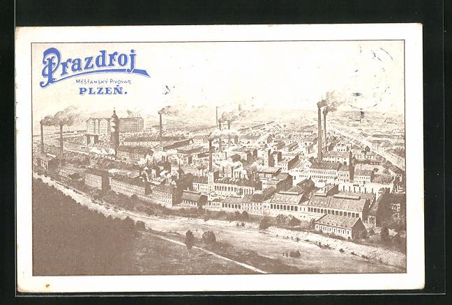 AK Pilsen, Brauerei Prazdroj aus der Vogelschau
