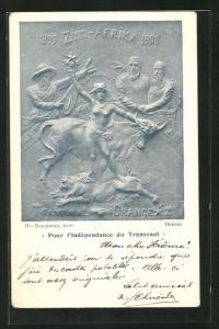 Künstler-AK Pour l`Indépendence du Transvaal, Relief mit Präsident Krüger, Burenkrieg