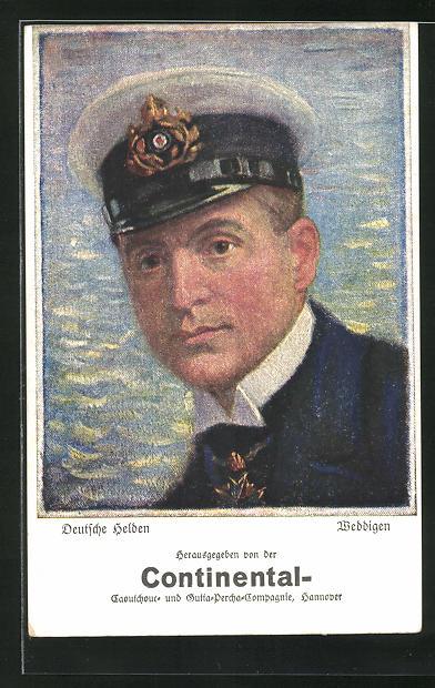 Künstler-AK Reklame für Continental Caoutchouc-Compagnie, Hannover, U-Boot Kommandant Weddigen