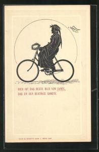 Künstler-AK sign. Hans Schliepmann: Dichter Dante fährt Fahrrad