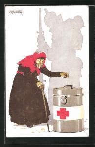 Künstler-AK Siegmund von Suchodolski: Spendensammlung vom Roten Kreuz der Stadt München