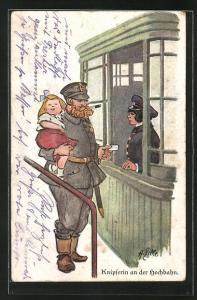 Künstler-AK Heinrich Zille: Knipserin an der Hochbahn und Soldat mit seiner Tochter