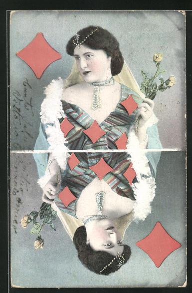 AK Karo-Dame beim Kartenspiel