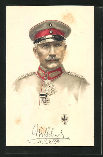 Künstler-AK Kaiser Wilhelm II. in Uniform, AK-Reklame Hermann Schött AG Rheydt