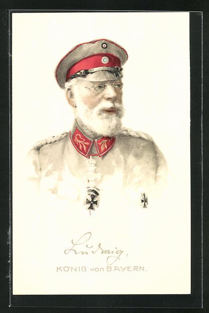 Künstler-AK König Ludwig III. in Uniform, AK-Reklame Hermann Schött AG Rheydt