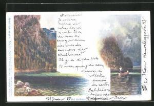 Künstler-AK Philipp + Kramer Nr. XX / 10: Hallstadt, Ortspartie, Seestimmungen