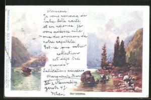 Künstler-AK Philipp + Kramer Nr. XX / 3: Am Mondsee, Seestimmungen