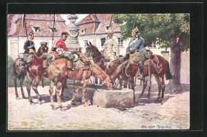 Künstler-AK Anton Hoffmann - München: An der Tränke, Soldaten in Uniformen zu Pferde
