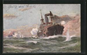 Künstler-AK Willy Stoewer: Deutsches U-Boot im Gefecht mit einem bewaffneten Handelsdampfer